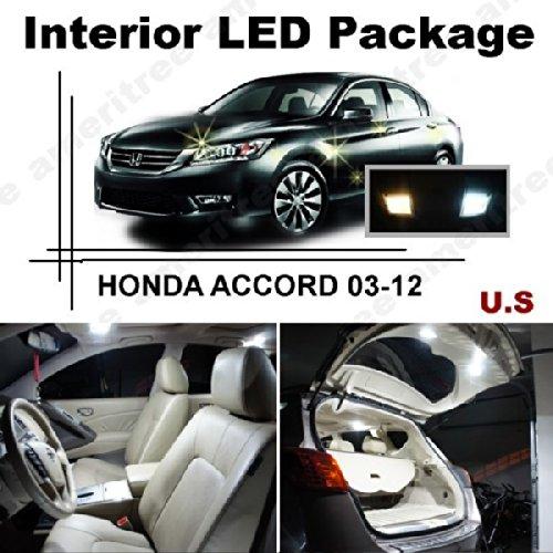 Xenon White Led Lights Interior Package + White Led License Plate Kit For Honda Accord 2003-2012 ( 12 Pcs )