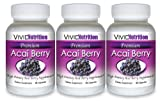 PREMIUM ACAI (3 Bottles) - High Potency, Pure Acai Berry Supplement. The All-Natural Diet, Weight Loss, Colon Cleanse, Detox, Antioxidant Superfood Product. 515mg Per Capsule