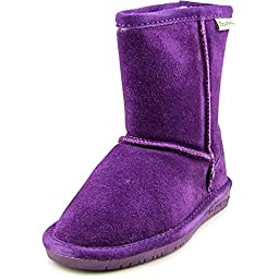 Bearpaw Girl\'s Emma Youth 6.5\'\' Snow Boots, Purple Suede, Rubber, 3 Little Kid M