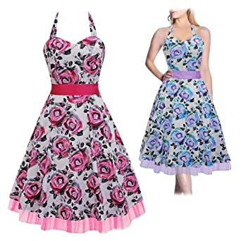Black butterfly white floral 50s 60s rockabilly vintage swing prom