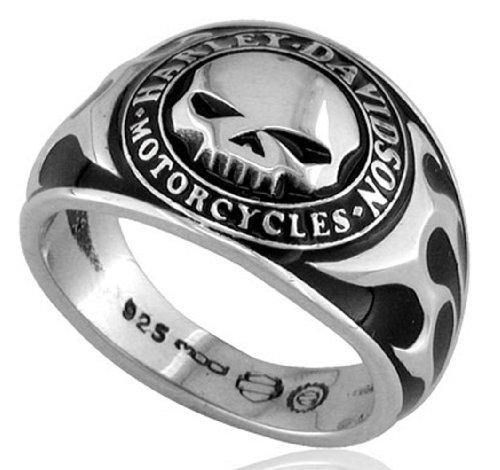 Harley-Davidson .925 Silver Skull W/Bk Enamel Ring (13)