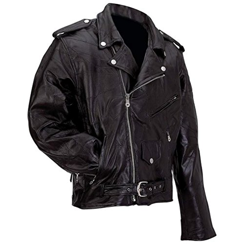 Rock Design Genuine Buffalo Leather Motorcycle Jacket (Pick a Size=Extra Large)