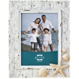 Prinz Sand Piper Resin Frame in Natural White with Seashells and Starfish Accents, 4 by 6-Inch