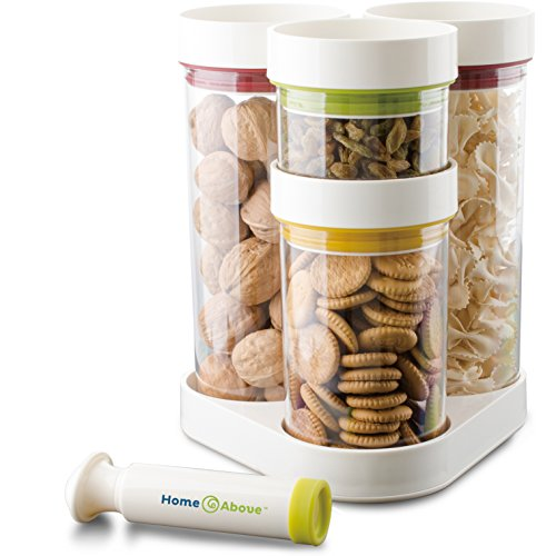 Vacuum Food Container 5pc Set in Rotating Carousel with Vacuum Pump, Seals in Freshness, Saves Chips, Cookies and More for Weeks, Saves Space, Organizes Kitchen Clutter - From Home & Above (Ceramic Food Container compare prices)