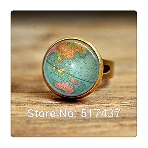 Vintage Globe Ring Planet Earth World Map Art Map Ring glass dome ring (Map Ring compare prices)