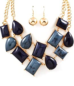 Big Chunky Blue tones Multi strands statement bib necklace earrings set Various cut metal castings-Formica- moving joint-gold finish