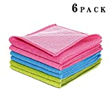 DOZZZ 6 Pack Microfiber Dish Cloth Kitchen Cloths Cleaning Cloths With Poly Scour Side dish cloth 12 x 12 Inch, Assorted Pink/Blue/Green, Set of 6