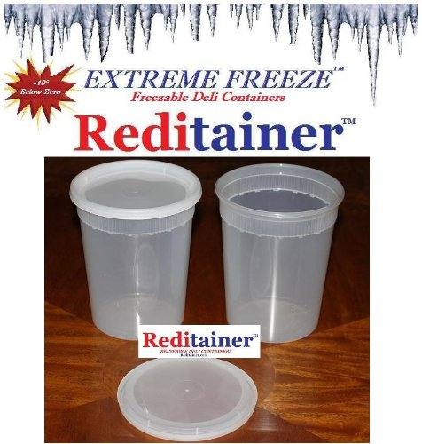 Extreme Freeze Reditainer 32 oz. Freezeable Deli Food Containers w/ Lids - Pack of 24 - Food Storage