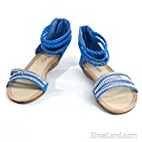 Daria Braided Low Wedge Sandal with Rhinestone Toe Bands