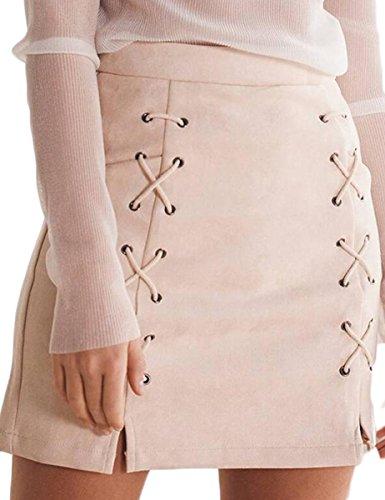 Prograce Women's Criss-Cross Empire Waist Bodycon Faux Suede Mini Skirt Beige M (Mini Skirt Dress compare prices)