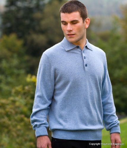 Noluur Mens Cashmere Polo Shirt Jumper in Hazy Blue Size XXL