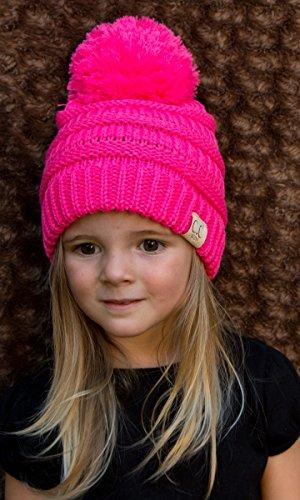 H-6847-37 Children's Pom Beanie - Candy Pink