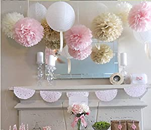 Mixed Color Fluffy Tissue Paper Pom Pom Flower Balls Wedding Favors Decorations Packe of 3 PCS