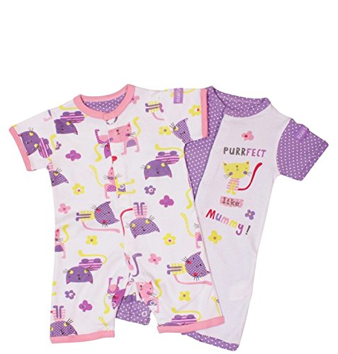 Pack of 2 Romper Suits - Purrfect (Girls) (3-6 months)