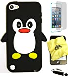 BUKIT CELL (TM) Apple iPod Touch 5 Penguin Silicone Case (BLACK) + BUKIT CELL Trademark Lint Cleaning Cloth + Screen Protector + WirelessGeeks247 METALLIC Touch Screen STYLUS PEN with Anti Dust Plug