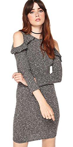 Sexy Balze Ruches Con Spalle Scoperte Bodycon Fascianti Aderente Mini a coste Rib Stitch Maglione Vestito Abito grigio XL