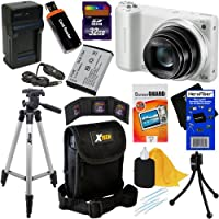 "Samsung WB250F 14.2MP CMOS Smart Wi-Fi Digital Camera with 18x Optical Zoom, 3.0"" Touch Screen LCD & HD Video (White) + SLB-10A Battery & AC/DC Battery Charger + 9pc Bundle 32GB Deluxe Accessory Kit w/ HeroFiber® Ultra Gentle Cleaning Cloth from Samsung"