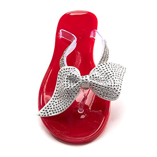 Sherbet Rhinestone Flip Flop with Bow (Strawberry, Medium 8/9) (Jelly Bean Sandals For Women compare prices)