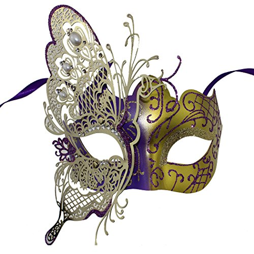 Luxury Masquerade Mask Venetian Butterfly Shiny Metal Mardi Gras Mask Multicolor
