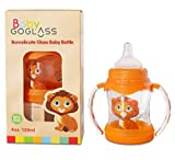 # 1�Top Rated goglass cristal de borosilicato botella de beb� 4�oz BPA libre con tetina extra incluido libre (verde/rosa)�-�mejores biberones para Preemie, reci�n nacidos, lactantes y ni�os ducha regalos naranja naranja