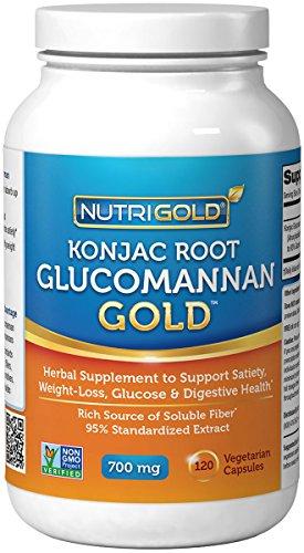 NutriGold Glucomannan GOLD, Konjac Root Fiber for Weight-loss, 700mg