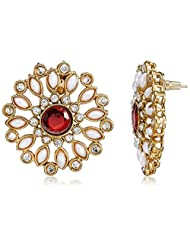 Sia Art Jewellery Stud Earring For Women (Golden And Red) (AZ2222)