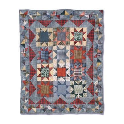 Patch Magic 36-Inch by 46-Inch Denim Burst Quilt Crib