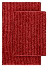 Garland Rug 2-Piece Sheridan Nylon Washable Bathroom Rug Set, Chili Pepper Red