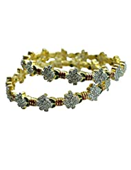 Sheetal Jewellery Silver & Golden Brass & Alloy Bangle Set For Women - B00TIH3AJY