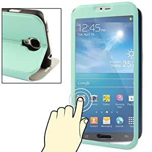 Ultra Slim Flip Leather Protection Case with Transparent Front Touch Cover & Holder for Samsung Galaxy S4 / i9500 (Light Green)
