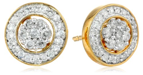 18k Gold-Plated Sterling Silver Diamond Jacket Stud Earrings (1/2 cttw, K-L Color, I3 Clarity)