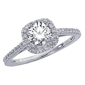 1.85 Carat Gorgeous Classic Cushion Halo Style Diamond Engagement Ring in White Gold with a 1.5 Carat J-K I1 Center