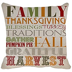 Pillow Case Family Thanksgiving Blessings Turkey Traditions Gather Pumpkin Pai Fall Grateful Harvest Printable Home Decor Throw Pillowcase Pillow Cover