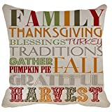 Pillow Case Family Thanksgiving Blessings Turkey Traditions Gather Pumpkin Pai Fall Grateful Harvest Printable Home Decor Linkwell Throw Pillowcase Pillow Cover 18 x 18 Inches