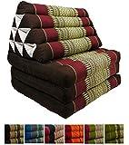 Kapok Thaikissen mit 3 Auflagen, asiatisches Dreieckskissen, orientalisches Sitzkissen als Sitzsack für Entspannung und Wellness (weinrot)