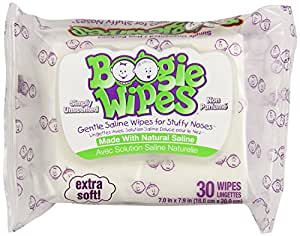 Boogie Wipes Simply Unscented Gentle Saline Wipes for Stuffy Noses, 30 sheets