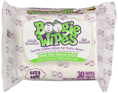 Boogie Wipes Gentle Saline for Stuffy Noses Simply Unscented - 30 Count, 3 Pack