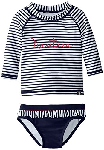Nautica baby girls infant stripe rash guard swim set el for Baby rash guard shirt