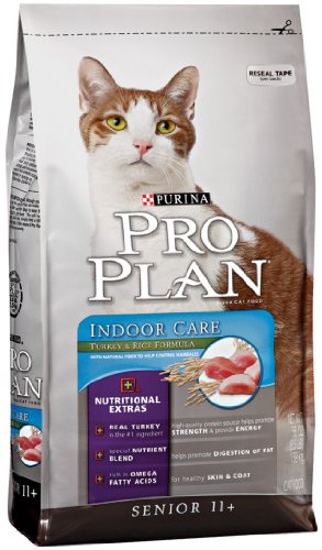 Image of Purina Pro Plan Dry Senior 11+ Cat Food (Indoor Care), Turkey and Rice Formula, 3.5-Pound Bag