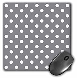 3dRose LLC 8 x 8 x 0.25 Inches Mouse Pad, Grey and White Polka Dot Print (mp_24682_1)