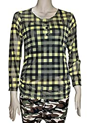 Trendbae Yellow Casual Full Sleeve Checkered Women's Top For Women