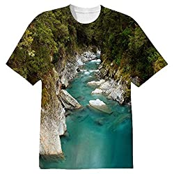 Snoogg Blue Water And White Rocks Mens Casual All Over Printed T Shirts Tees