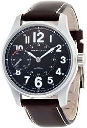 Hamilton Khaki Field Mens Brown Strap Black Dial Stainless Steel Watch H69619533