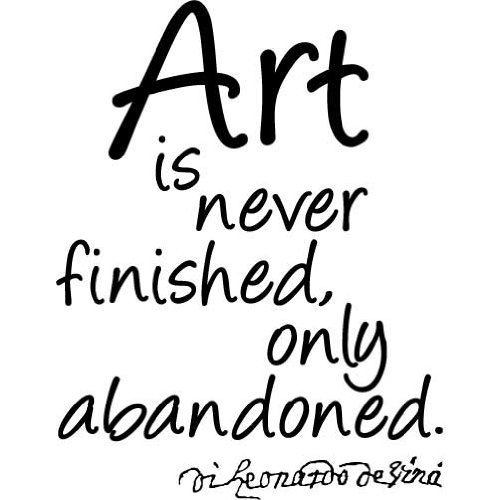 Leonardo Da Vinci Quote - Art Is Never Finished - Vinyl Wall Decal (Medium) front-998634