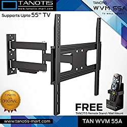 Tanotis Imported 6 Way Swivel Tilt TV Wall mount for LCD/LED TVs upto 32 to 55 inch TAN WVM 55A + Free TANOTIS Remote Stand TAN ACC RMS