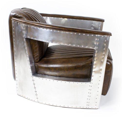 Echtleder Vintage Alu Sessel Ledersessel Design Lounge Clubsessel Sofa Möbel NEU 451