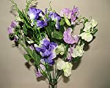 48cm Large Artificial Purple / Lavender Sweet Pea Bush - 9 Flower Stems - Home Grave Wedding