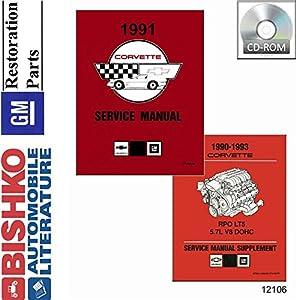 1991 Chevrolet Corvette Shop Service Repair Manual CD Engine Drivetrain Wiring