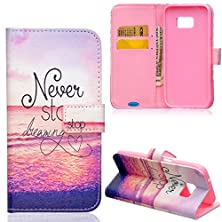 buy Samsung Galaxy S7 Case,Jancalm Galaxy S7 Wallet Case,[Kickstand] Pattern Premium Pu Leather Wallet [Card/Cash Slots] Flip Cover For Samsung Galaxy S7 *Including-One Crystal Pen (Never Stop Dreaming)