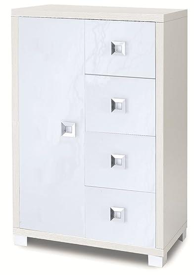 Mobile con un'anta e 4 cassetti in bianco fiammato con finiture esterne in bianco lucido